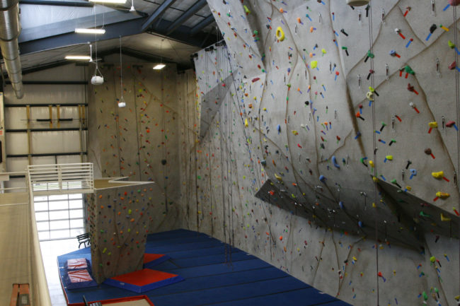 The 37 feet tall climbing walls of Climb Iowa Grimes, the site of multiple USA Climbing championship events, before adding a gym with confidence in East Village.
