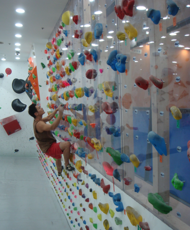 A climber boulders at Core Climbing Gym which recently opened in Seoul.
