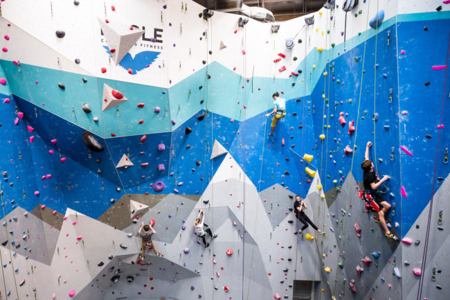 The power of high school climbing: lead climbing and top-roping at Eagle Climbing + Fitness in Colorado.