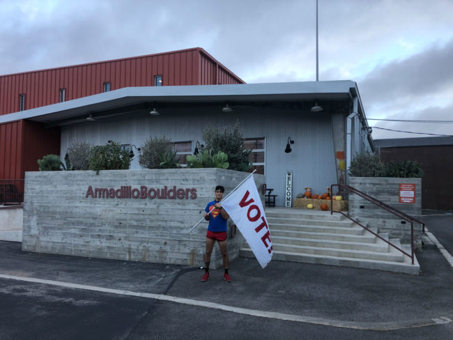 A flag outside Armadillo Boulders to encourage voting