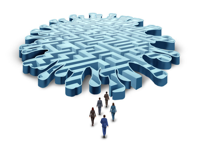 Business people entering the maze of COVID-19 requirements and guidelines