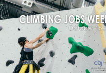 routesetter on ladder - Climbing Jobs Weekly