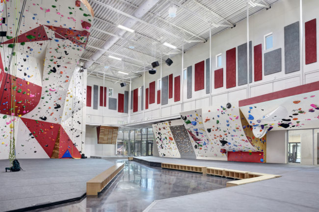 The scholastic climbing gym at Fountain Valley School of Colorado, designed by Futurist.
