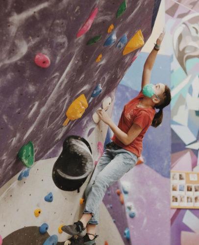 Climbing at MetroRock Williamsburg gym in New York