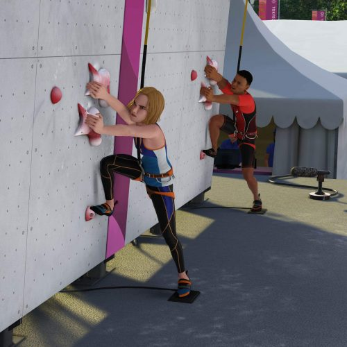 Climbing in Tokyo Olympics video game