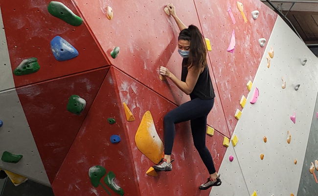 Climbing in a mask