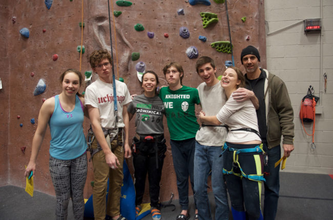 The Dominican High School climbing team in Wisconsin's High School Climbing League.