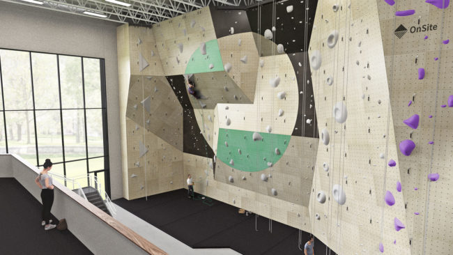 Rendering of the new Elev8 Climbing + Fitness gym