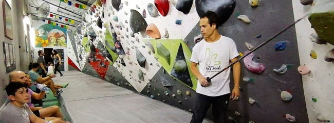 Gyms in South America are adapting to COVID-19 too, according to Fernando Cicconi of Realization Escalada, pictured here.