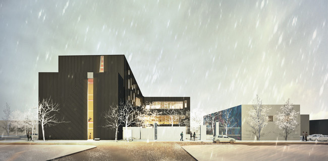 Rendering of the finished complex. Photo: Front / MHTN Architects