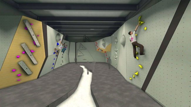 Concept art of one of the Goat Climbing Gym bouldering floors
