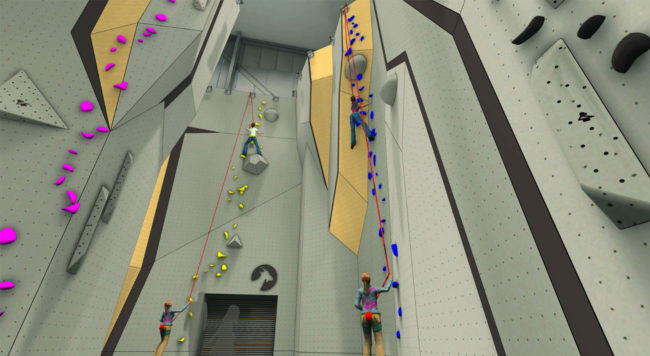 Concept art of roped climbing at Goat Climbing Gym coming to New Jersey
