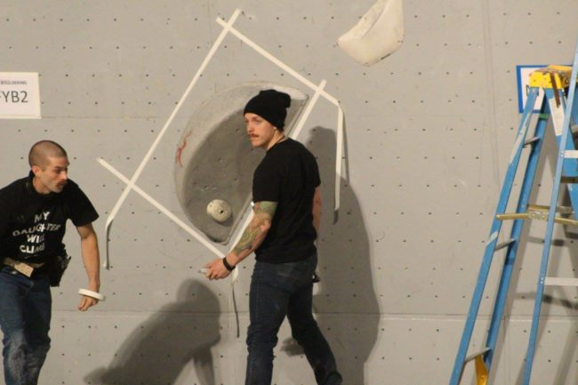 Behind the Wrench with Cody Grodzki - Cody Setting at Youth Bouldering Nationals