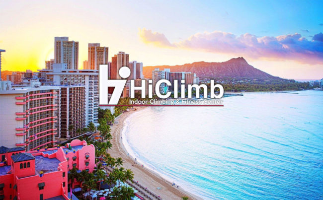 A new climbing gym is coming to Honolulu, not far from the shoreline pictured here with the HiClimb logo.