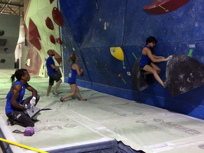 Mawem and Bertone climbing at the IFSC Mixed Team event