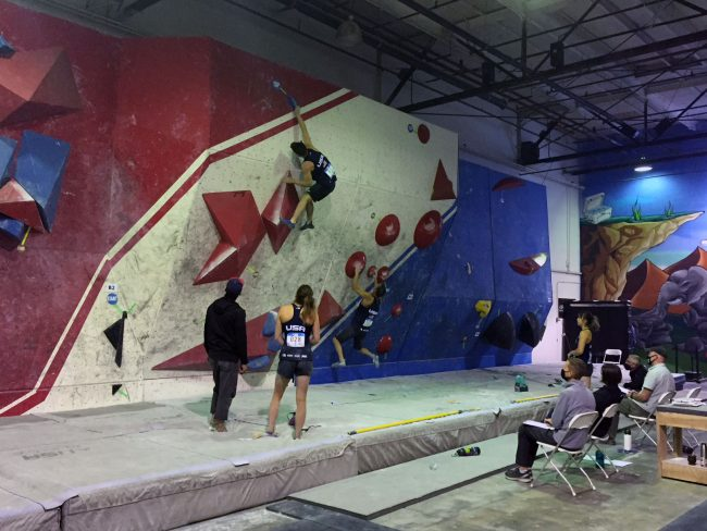 USA athletes competing at the IFSC Mixed Team event