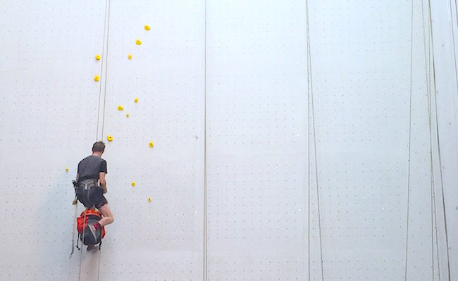 Routesetting, the lonely art.  Photo: CBJ