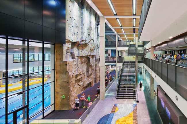 The climbing wall at the University of Iowa.  Photo: Athletic Business By Kun Zhang, Dimension Images
