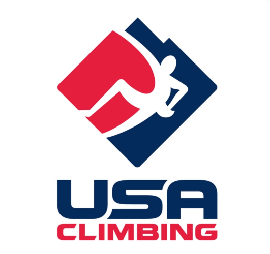 The logo of USA Climbing, which cancels several championship events.