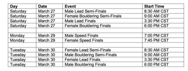 National Team Trials schedule
