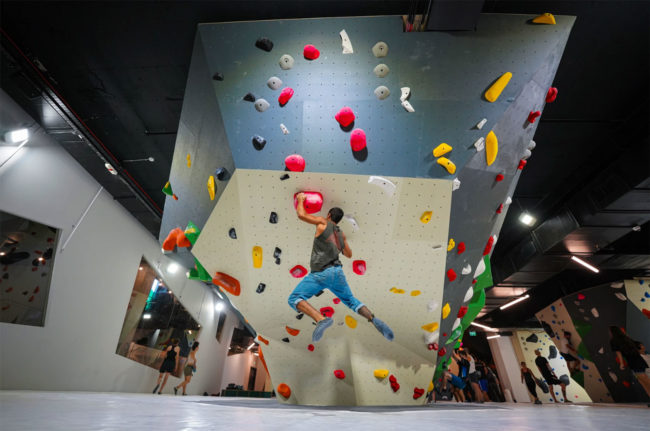 Steep bouldering at Performance Rock, Yuval Hamburg's gym.