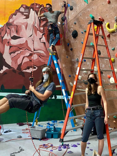 Routesetting with masks at Rogue Rock Gym