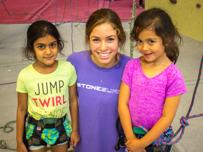 Youth climbers with coach at a Summer Youth Program