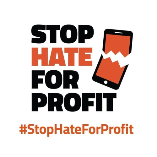 The Stop Hate for Profit campaign logo and hashtag