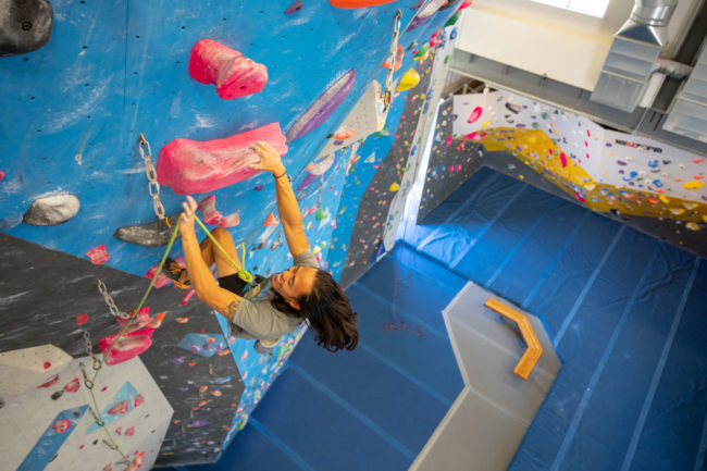 Should gyms give COVID-19 orientations? Ty Morrison-Heath, pictured here, has included a video format at Spire Climbing + Fitness.