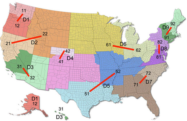 USA Climbing Realigns Regions: map of the new Youth series divisions.
