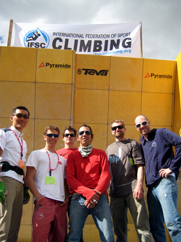 Waggoner and crew at 2008 Vail Bouldering World Cup