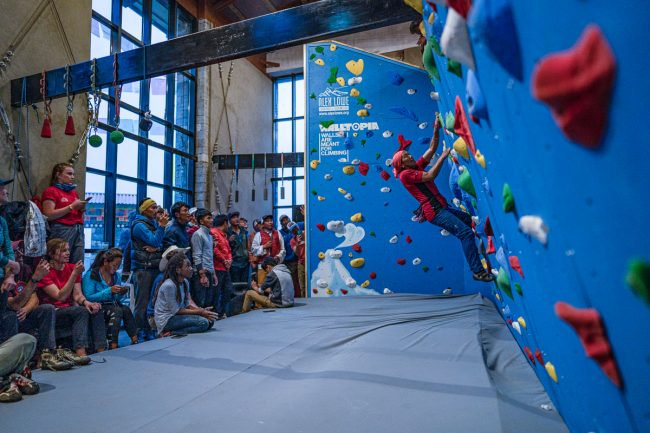 Crowd gathers for climbing at KCC