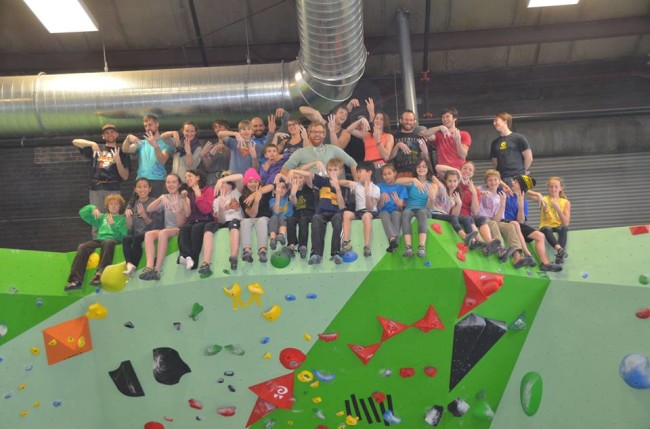 Coach Hoffart and team.  Photo: Midwest Climbing Academy