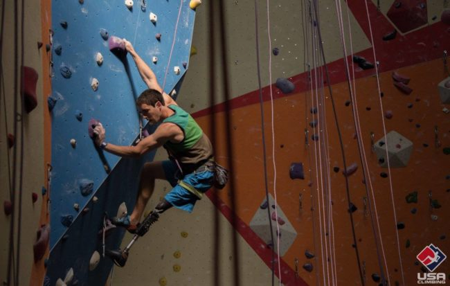 A climber at the recent Adaptive Sport National Championship.  Photo: USA Climbing.