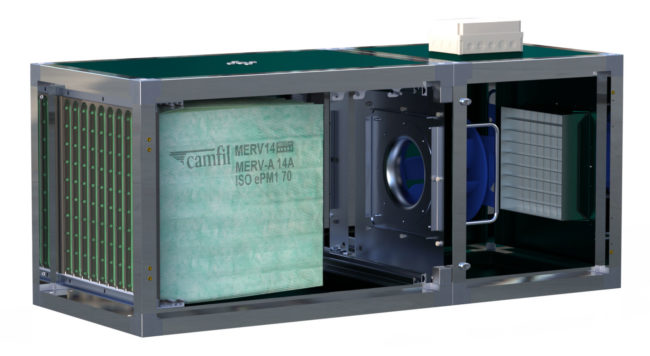 Hi-Flo ES air filters by Camfil inside the CamCleaner Horizontal air cleaner for gyms.
