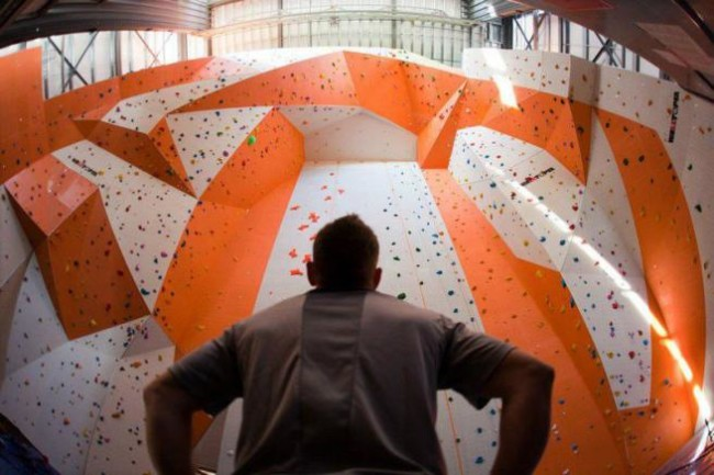 A look up at the towering comp walls of The Boulders. Photo: © Christian J. Stewart Photography