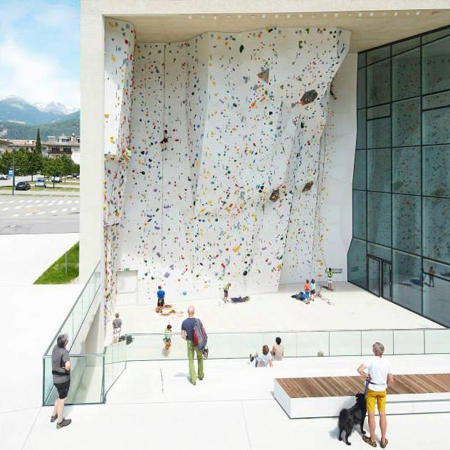 The outdoor wall at Bruneck
