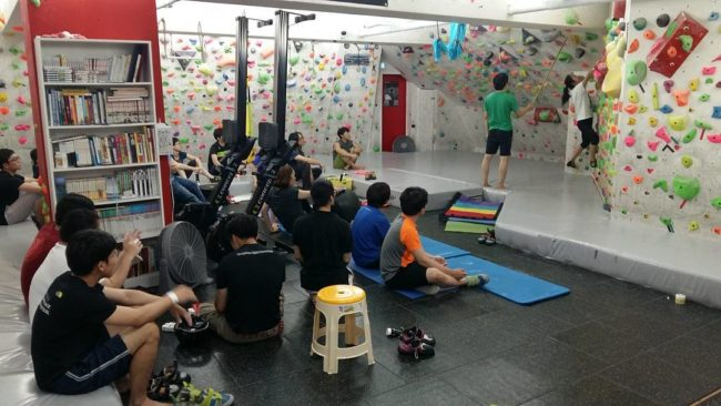 A small group takes over Candy Climbing gym. Photo: Candy
