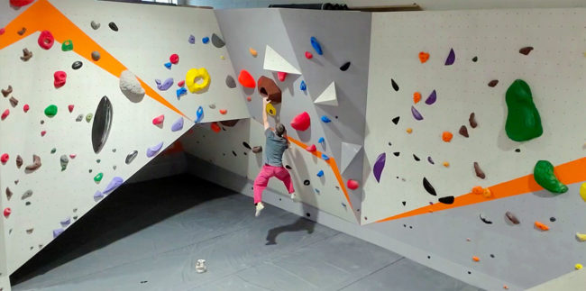 Climbing at The Goat Fort, a bouldering-focused gym