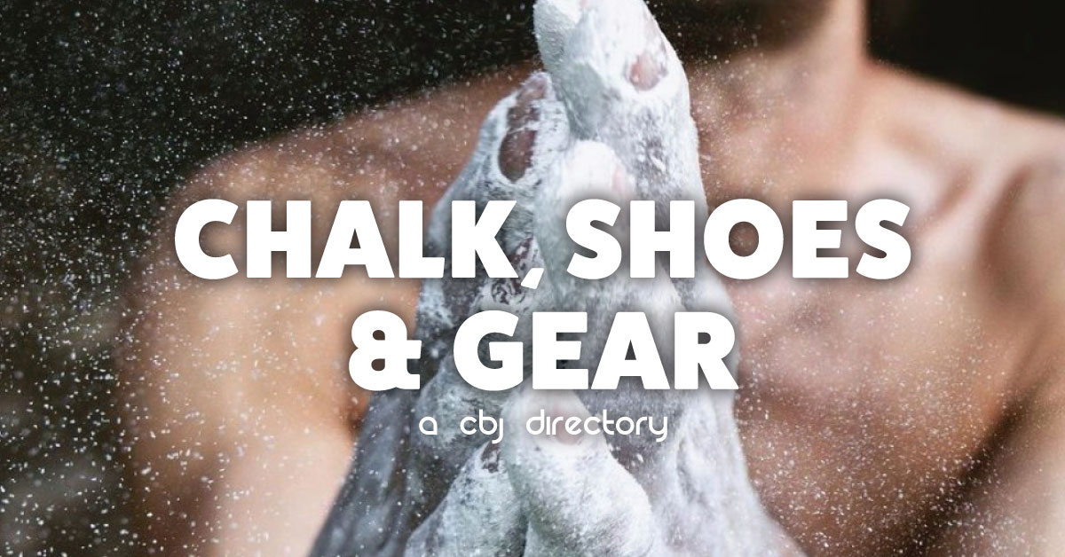 climbing chalk, shoes and gear