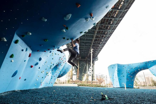 Paul Robinson tests out the DUMBO Boulders.  Photo: Boon Speed.