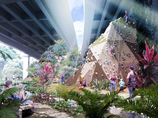 Rendering of the planed Green Corridor project in Singapore.