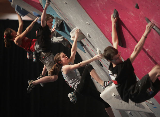 Youth Bouldering.  Photo: Wisconsin State Journal