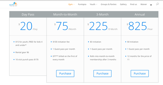 Sender One's pricing table is simple and elegant