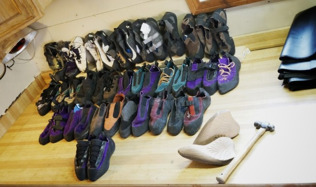 SFT's large collection of prototype shoes (over 50 models), with a completed pair of customer shoes in front.