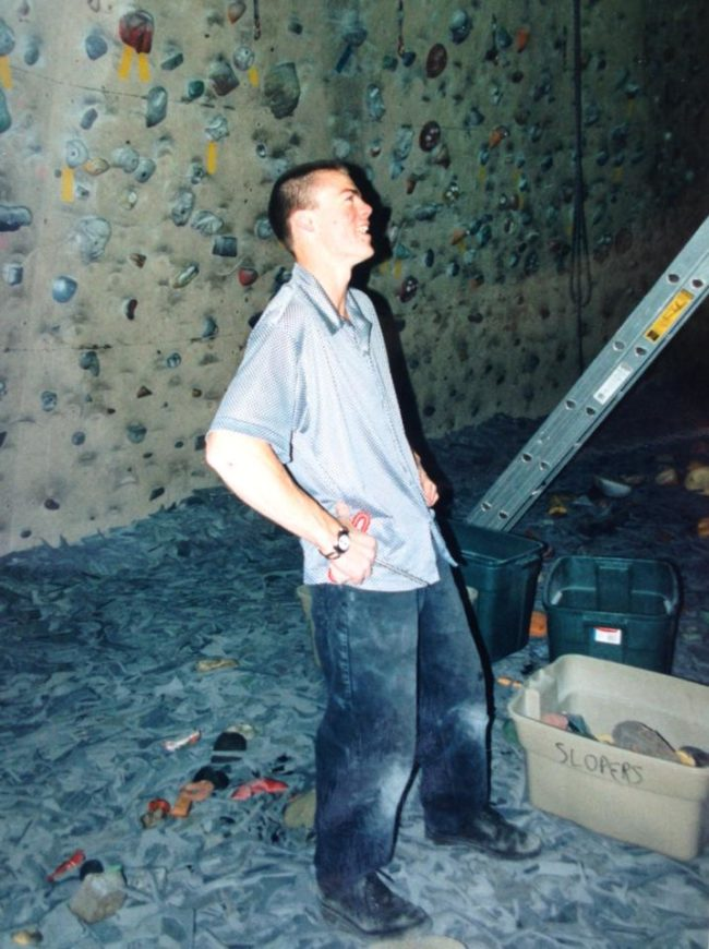 Steven, still holding a wrench, while setting at the Wasatch Front Rock Gym in the 90s.