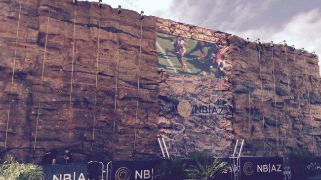The former Super Bowl wall.  Photo: Bizjournals.com