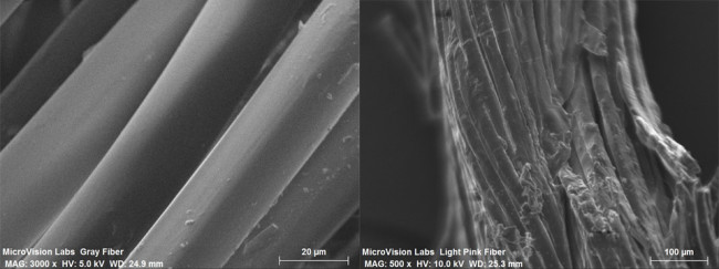 Normal fibers on left. Contaminated fibers on right. (Photo: Black Diamond)
