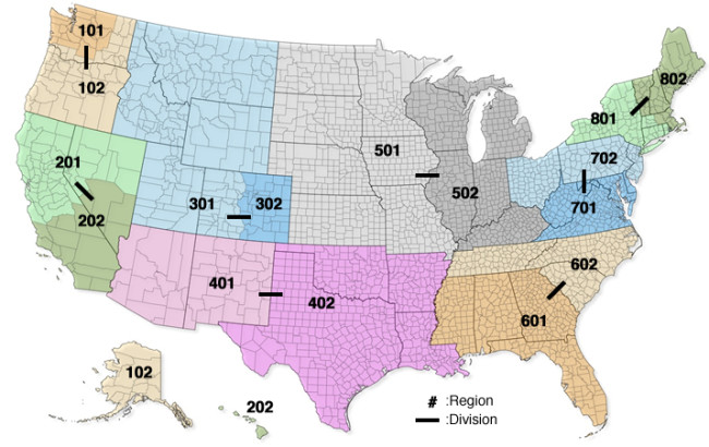USA Climbing's new Regions (#'s) and Divisions (--)