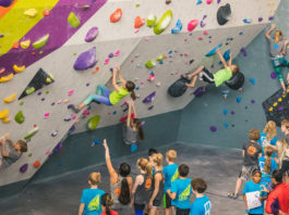 Youth climbers at competition